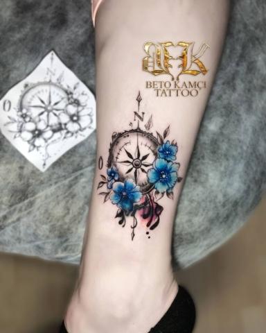 Pusula & Çiçek Dövmesi - Compass & Flower Tattoo (Dövme Kapatma)
