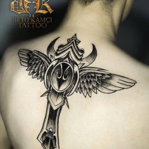 Kanat & Asa Dövmesi - Wing & Staff Tattoo