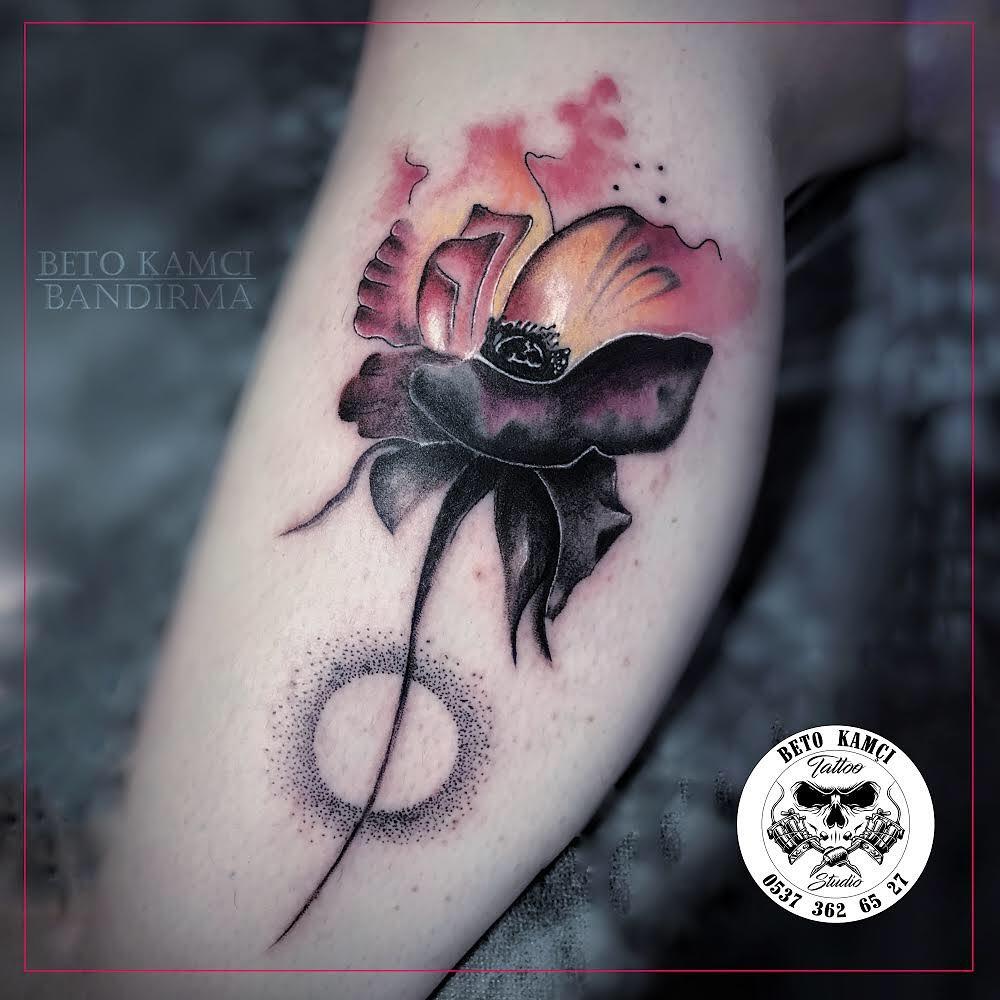 Renkli Çiçek Dövmesi - Watercolor Flower Tattoo