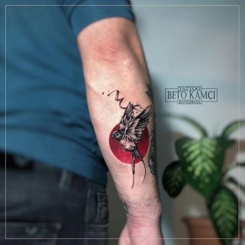Kızıl Ay & Kuş Dövmesi - Red Moon & Bird Tattoo