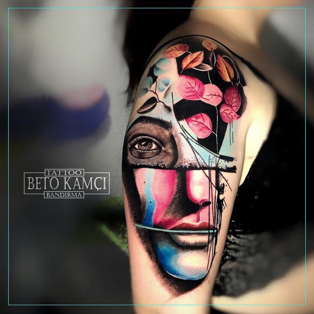 Renkli Kadın Yüzü Dövmesi - Colorful Woman Face Tattoo