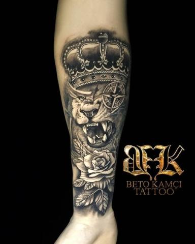 Aslan & Gül Dövmesi - Lion & Rose Tattoo