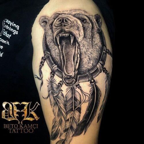 Ayı & Düş Kapanı Dövmesi - Bear & Dream Trap Tattoo